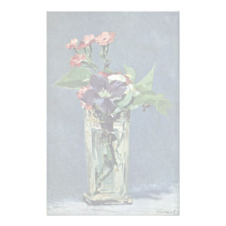 Carnations And Clematis In A Crystal Vase Personalized Stationery