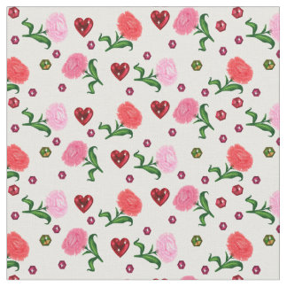 Carnations and Garnet Hearts Print Cotton Fabric