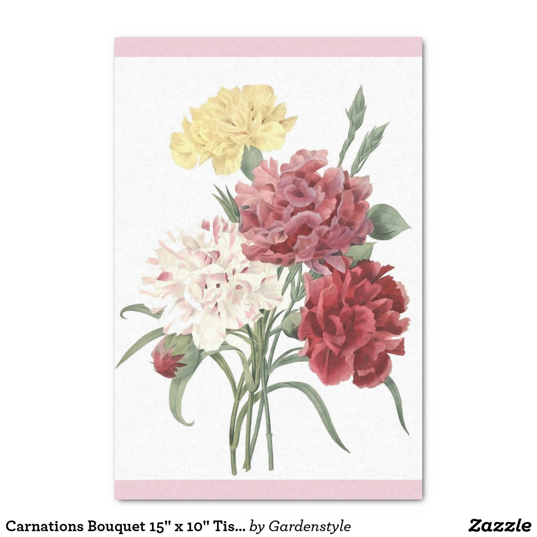 "Carnations Bouquet 15"" x 10"" Tissue Paper"