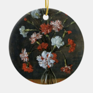 Carnations In A Glass Vase Ceramic Ornament