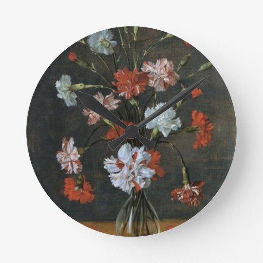 Carnations In A Glass Vase Round Clock