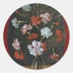 Carnations In A Glass Vase Round Sticker
