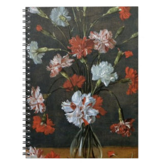 Carnations In A Glass Vase Spiral Notebook