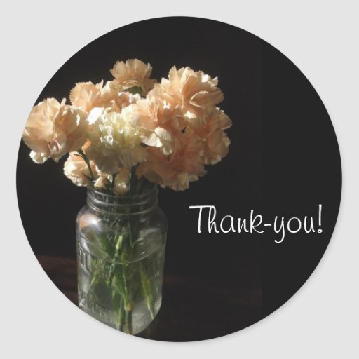 Carnations in a Mason Jar Thank-you Stickers