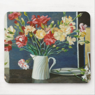 Carnations in a spiral jug 2000 mouse pad