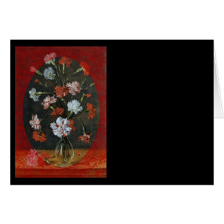 Carnations In Vase With Red Border Card