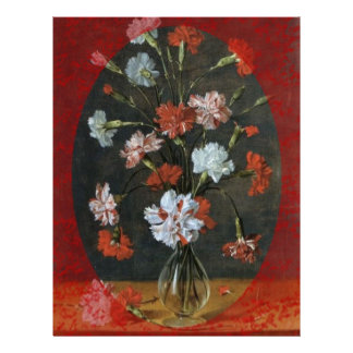 Carnations In Vase With Red Border Letterhead