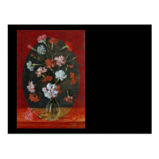 Carnations In Vase With Red Border Postcard