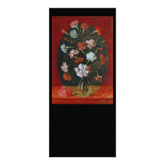 Carnations In Vase With Red Border Rack Card