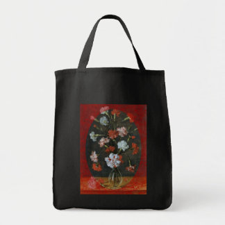 Carnations In Vase With Red Border Tote Bag