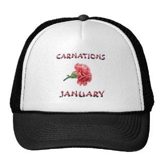 Carnations January Flower Trucker Hat