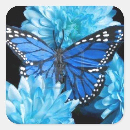carnations.jpg azul pegatina cuadrada