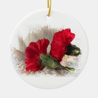 Carnations on Brocade Ceramic Ornament