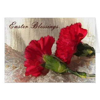 Carnations on Brocade Easter Card