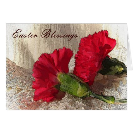 Carnations on Brocade Easter Greeting Cards
