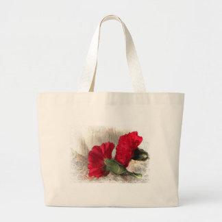 Carnations on Brocade Jumbo Tote Bag