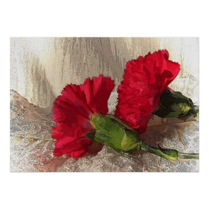 Carnations on Brocade Poster