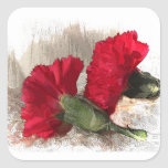 Carnations on Brocade Square Sticker