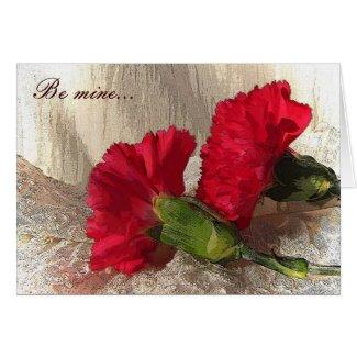 Carnations on Brocade Valentine Card