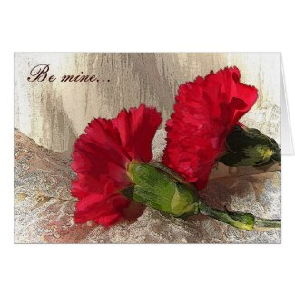 Carnations on Brocade Valentine Card
