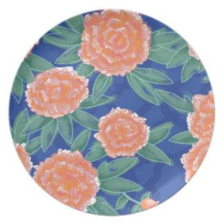 """""""Carnations"""" Vintage Flower Illustration Poster Melamine Plate"""