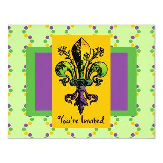 Carnaval antiguo Fleur Invitación 10,8 X 13,9 Cm