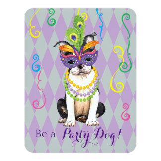 """Carnaval Boston Terrier Invitación 4.25"""" X 5.5"""""""