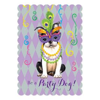 """Carnaval Boston Terrier Invitación 5"""" X 7"""""""