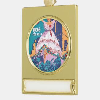 Carnaval de 1936, Feb. 22-25, Panama Gold Plated Banner Ornament