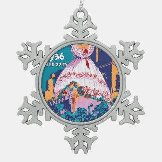 Carnaval de 1936, Feb. 22-25, Panama Snowflake Pewter Christmas Ornament