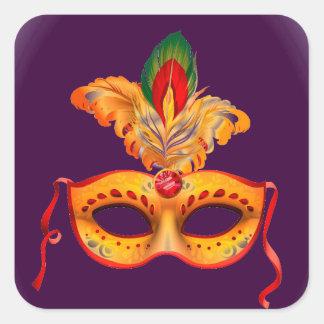 Carnaval de la máscara de la mascarada de la pegatina cuadrada
