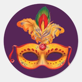 Carnaval de la máscara de la mascarada de la pegatina redonda