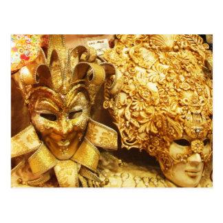 Carnaval de la máscara del bufón del oro del postal