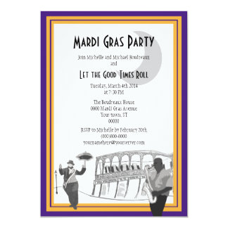 """Carnaval del jazz de New Orleans (púrpura) Invitación 5"""" X 7"""""""