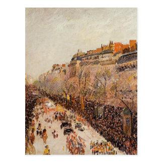 Carnaval en los bulevares de Camille Pissarro Tarjeta Postal