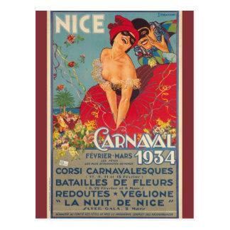 Carnaval francés Niza 1934 del vintage Postal