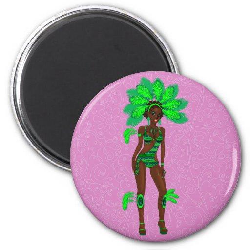 carnaval girl.ai verde imán para frigorífico