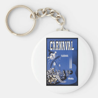 Carnaval Habana travel poster Keychain