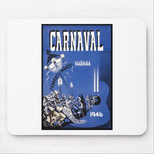 Carnaval Habana travel poster Mouse Pad