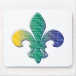 Carnaval New Orleans de la flor de lis Tapete De Raton