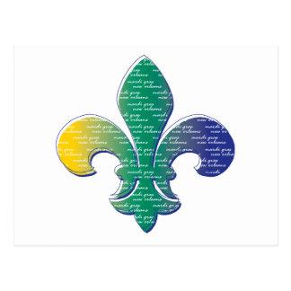 Carnaval New Orleans de la flor de lis Postal