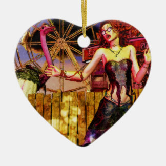 Carnaval Double-Sided Heart Ceramic Christmas Ornament