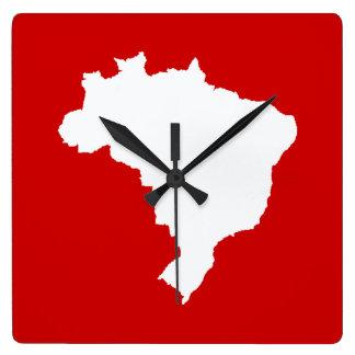 Carnaval Red Festive Brazil at Emporio Moffa Square Wall Clocks
