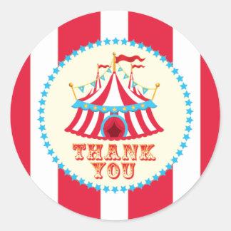 Carnaval, tienda de circo, gracias pegatina