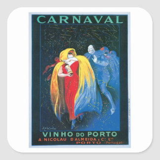 Carnaval Vinho Do Porto Vintage Wine Ad Art Square Sticker