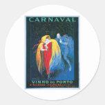 Carnaval Vinho hace arte del anuncio del vino del Pegatina Redonda