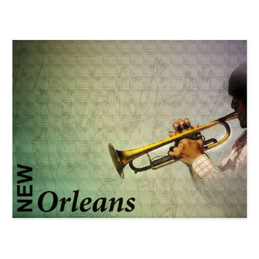 Carnaval y jazz Photomanipulation de New Orleans Tarjetas Postales