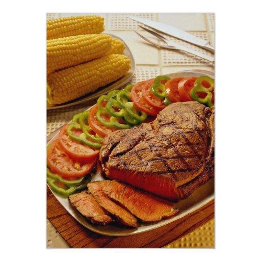 """Carne asada de carne de vaca deliciosa con maíz invitación 5"""" x 7"""""""