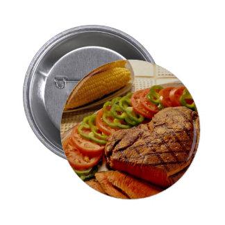 Carne asada de carne de vaca deliciosa con maíz pin redondo 5 cm