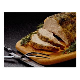 Carne asada de cerdo cortada deliciosa tarjeta postal
